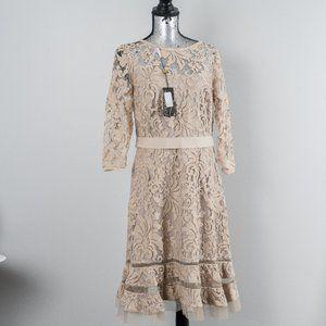 NWT Tadashi Shoji beige lace dress - 12